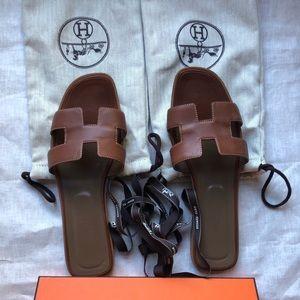 Hermes Oran Gold Sandals